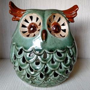 OWL CANDLE HOLDER & LIGHTS